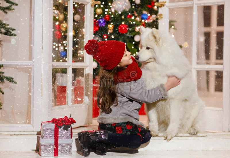 Beautiful little girl hugging a big white dog in Christmas street decorations. There is white snow. royalty free stock images