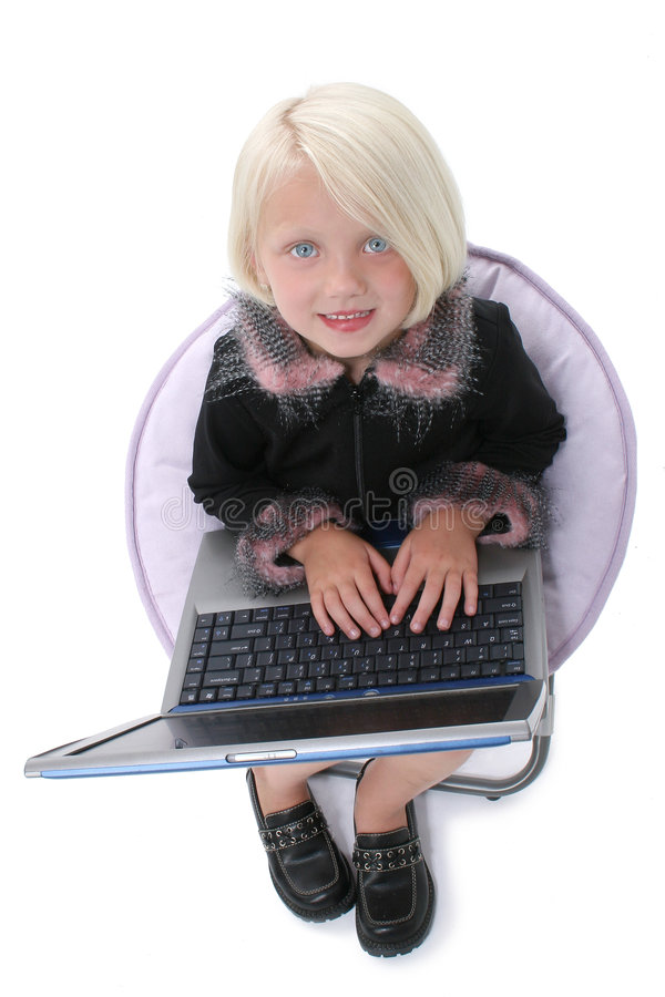 Free Beautiful Little Girl In Chair With Laptop Computer Stock Photo - 201230