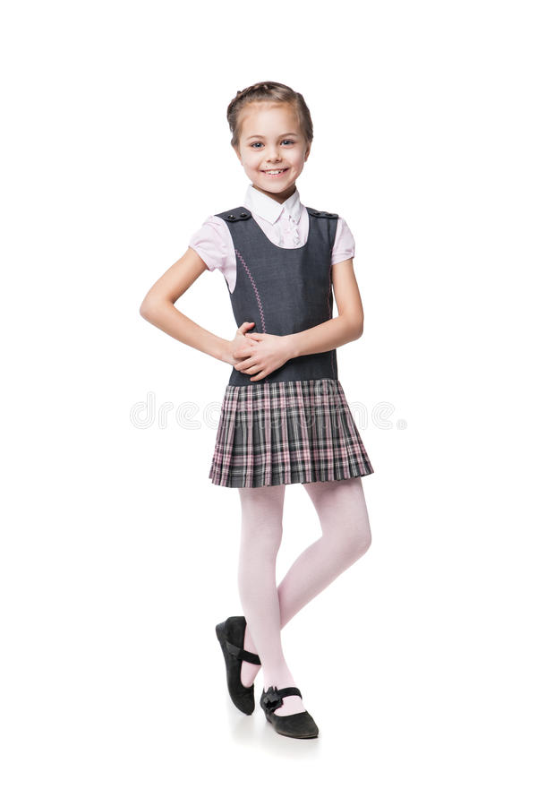 Free Beautiful Little Girl In School Uniform Isolated Royalty Free Stock Image - 55183876