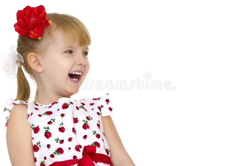 Beautiful little girl laughing. royalty free stock images