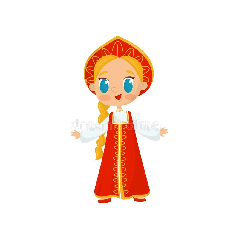Flat vector icon of little girl with long braid wearing national Russian costume. Child in red folk dress and vector illustration