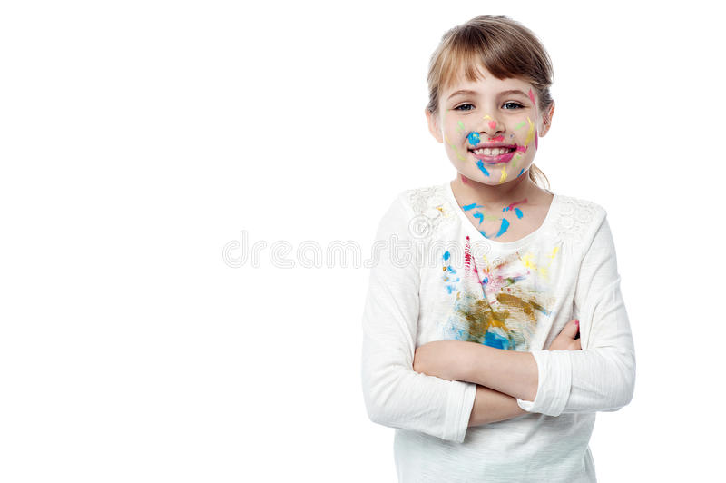Beautiful little girl with paint of face stock image