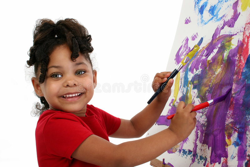 Beautiful Little Girl Painting royalty free stock images