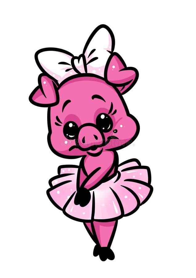 Beautiful little girl piggy pink ballerina animal character cartoon stock images