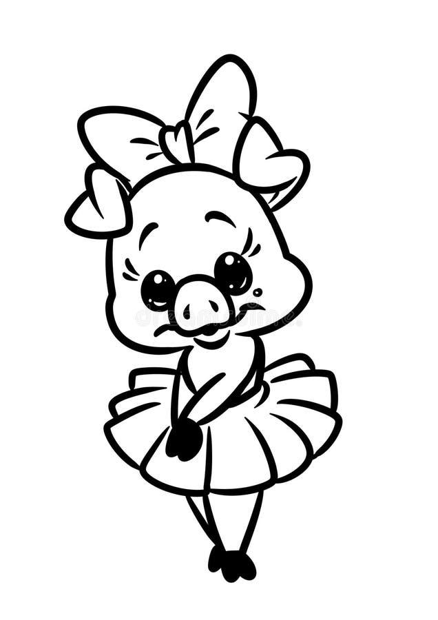 Beautiful little girl piggy pink ballerina coloring page animal character cartoon stock photo