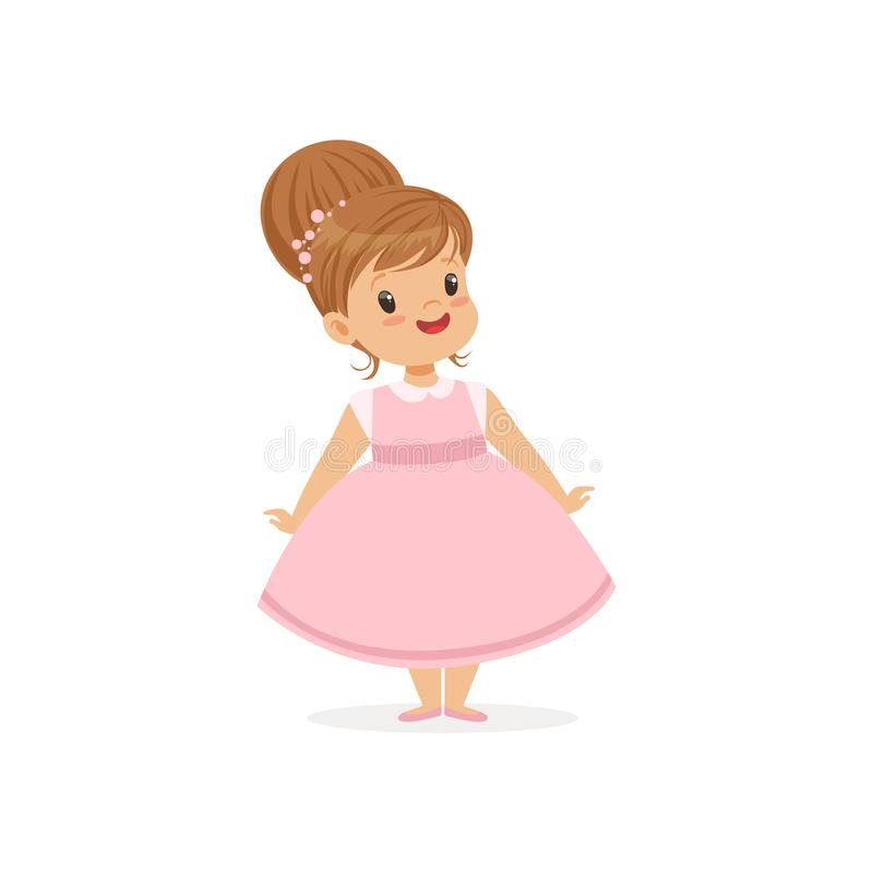 Beautiful little girl posing in pink dress, young lady dressed up in classic retro style vector Illustration stock illustration