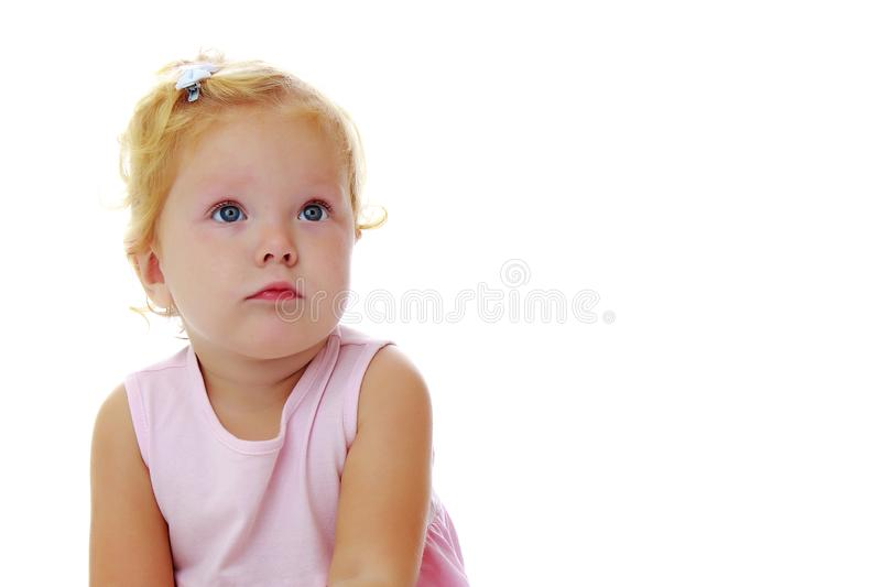 Little girl posing in the studio. Close-up. stock images