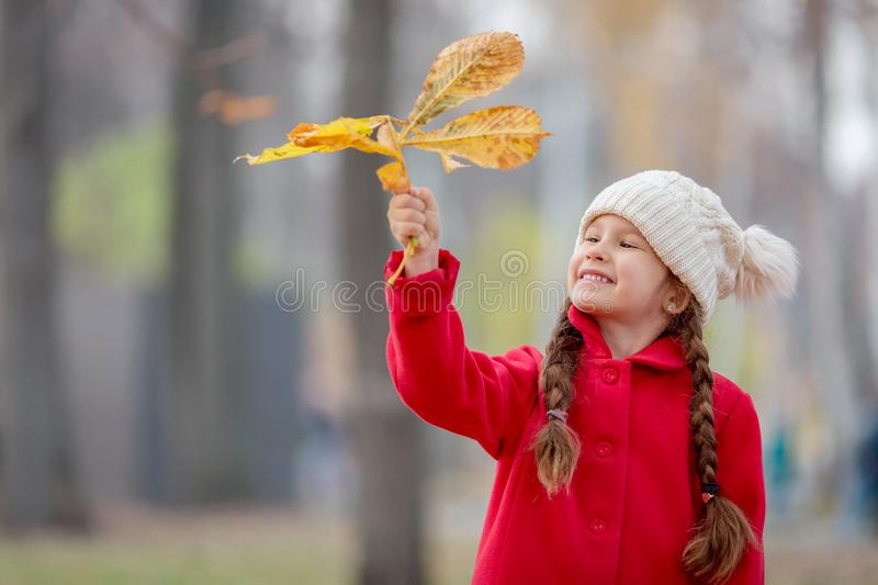 Beautiful little girl in red coat with autumn leaves outdoors in a park stock image