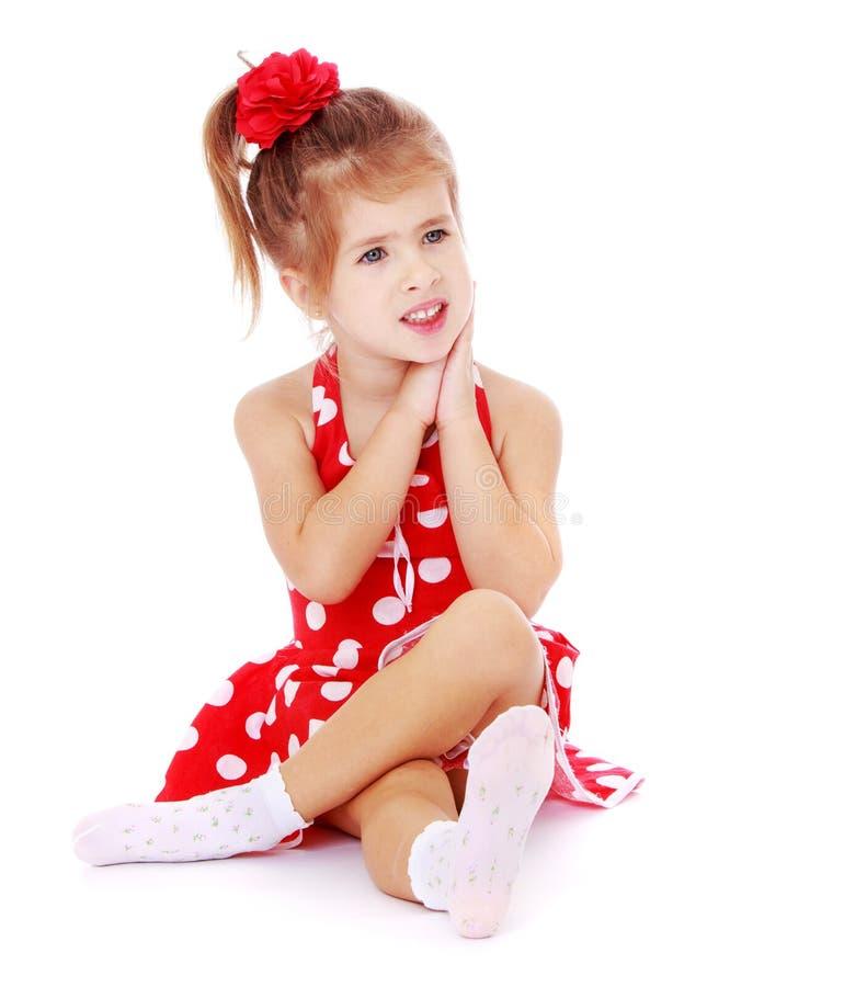 Beautiful Little Girl Bedrooms: Beautiful Little Girl Sitting On The Floor Crossed Stock