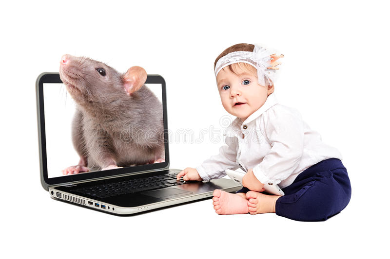 Beautiful little girl sitting with a laptop, out of which a rat is peeking out stock images