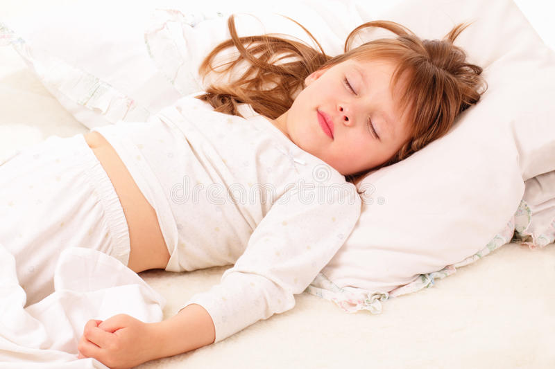 Simply little girl sleeping facial abstract thinking