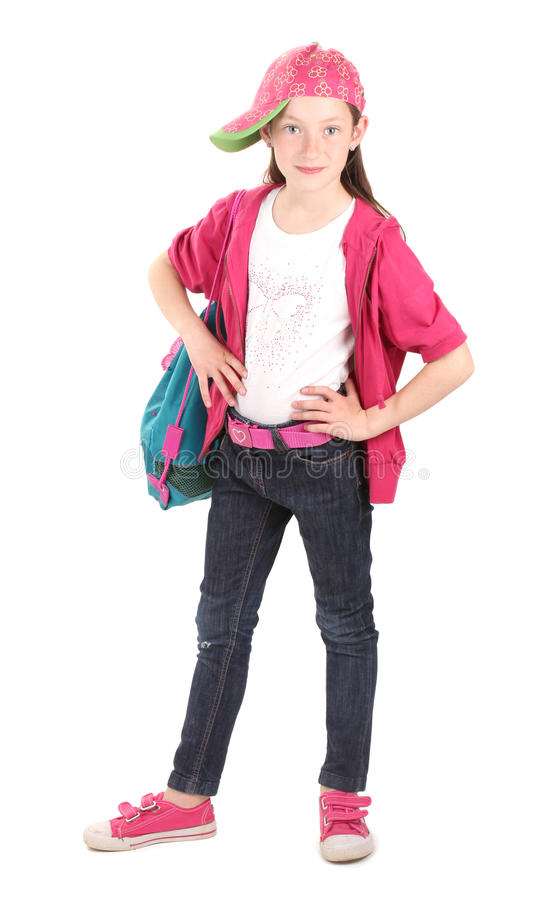 Beautiful little girl in sport clothes royalty free stock images