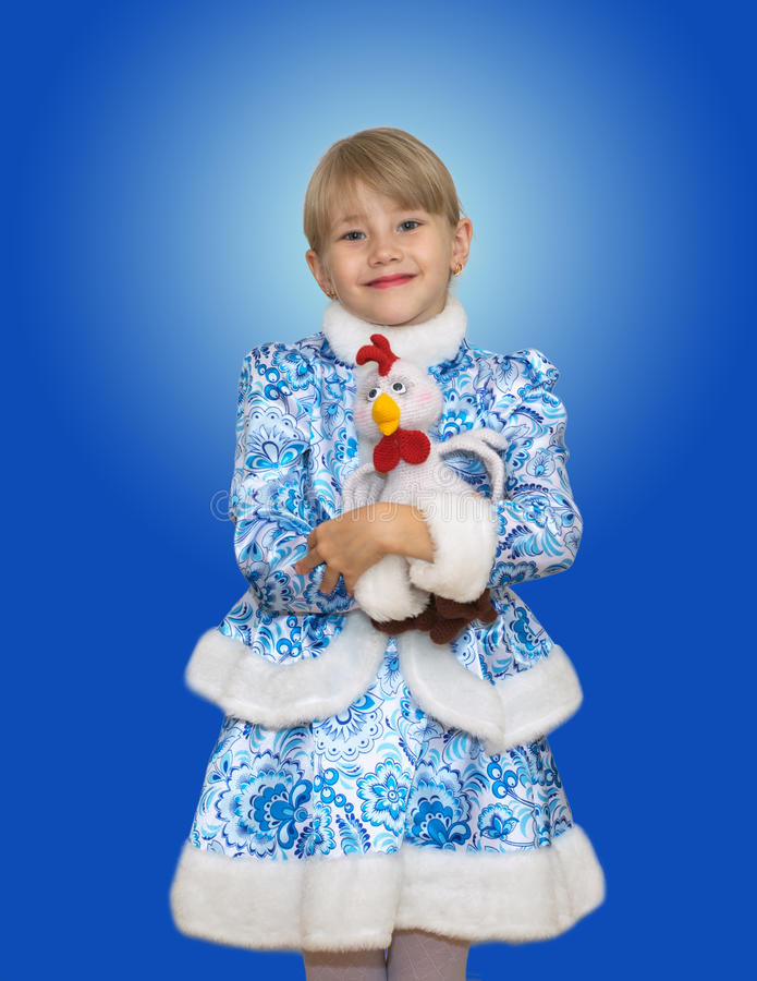 Beautiful little girl in suit Snow Maiden. royalty free stock image