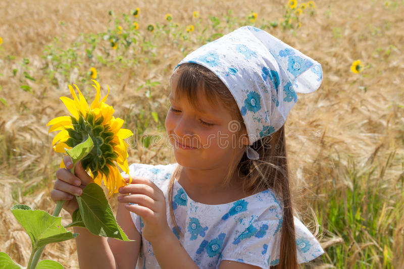 Download Beautiful Little Girl And Sunflower Stock Photo - Image of girl, color: 39511724