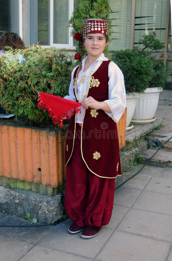 Beautiful little girl in traditional Turkish costume royalty free stock photo