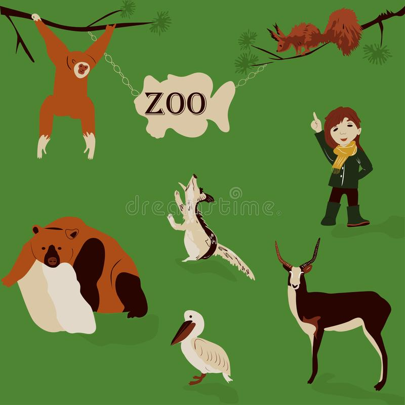Beautiful, little girl walking in nature in the zoo, vector illustration