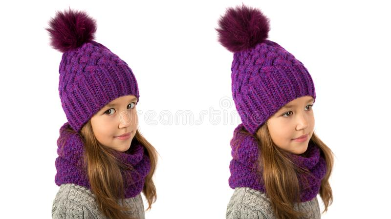 Beautiful little girl in winter warm purple hat and scarf on white. Children winter clothes. Beautiful little girl in winter warm purple hat and scarf on a white stock images