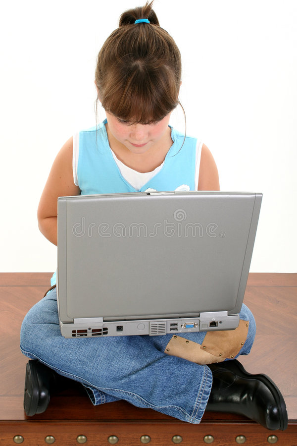 Download Beautiful Little Girl Working On Laptop Computer Stock Photo - Image of beautiful, student: 191894