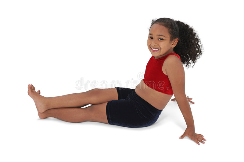 Beautiful Little Girl In Workout Clothes Stock Images