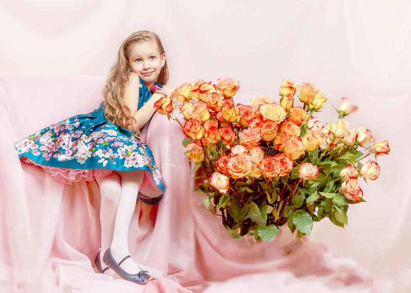 Beautiful little girl 5-6 years. royalty free stock images
