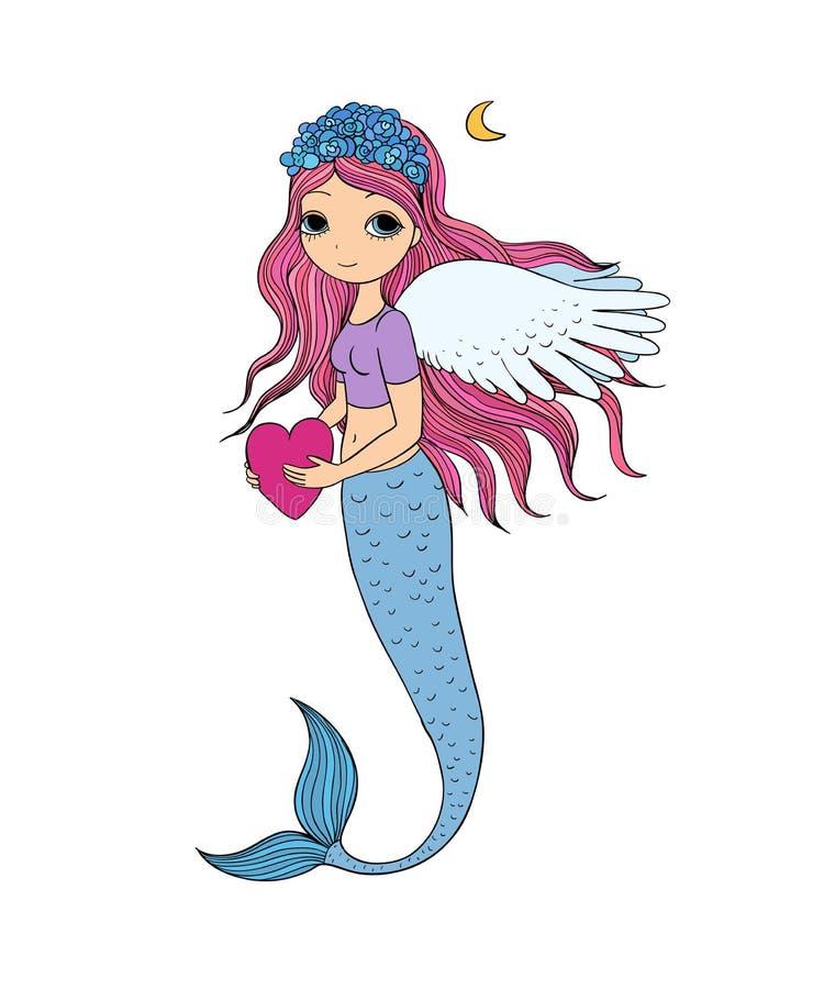 Beautiful little mermaid. Siren. Sea theme. vector illustration