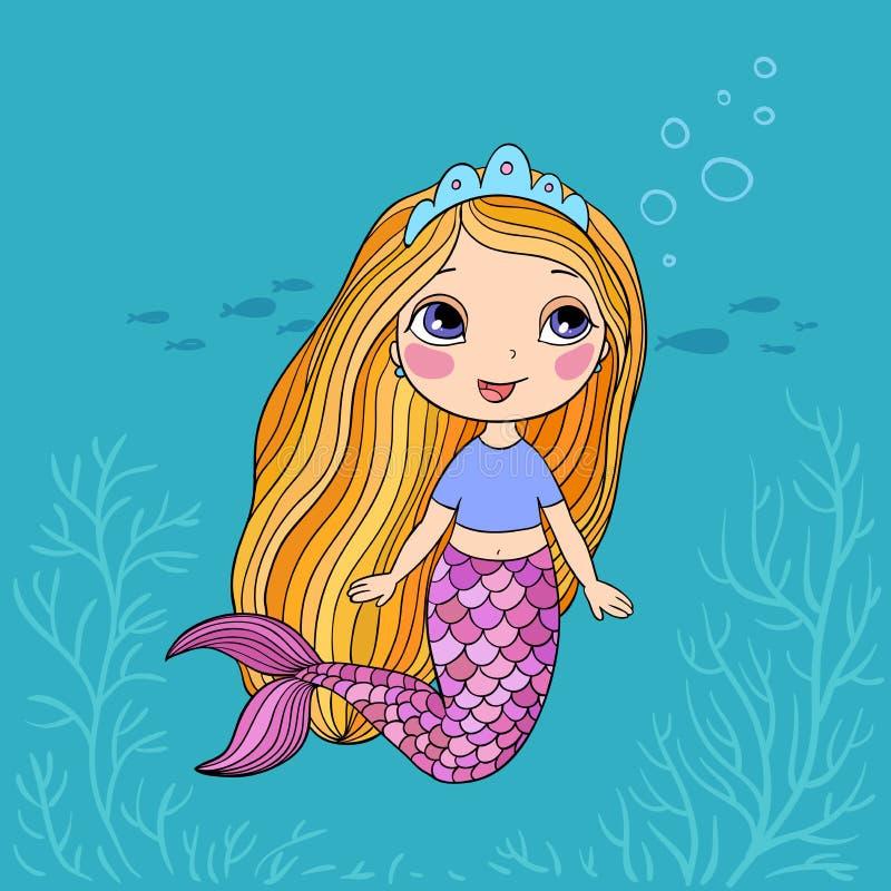 Beautiful little mermaid. Siren. Sea theme. stock illustration
