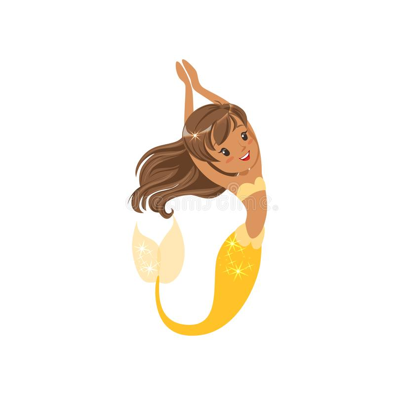 Beautiful little mermaid swimming underwater. Cartoon girl character with long brown hair and yellow tail. Marine life stock illustration