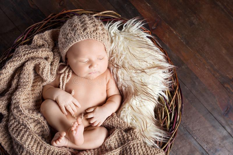 Beautiful little newborn boy 20 days  sleeps in a basket whith knitted plaid. Portrait of pretty newborn boy. Beautiful little newborn boy 20 days sleeps in a royalty free stock photo