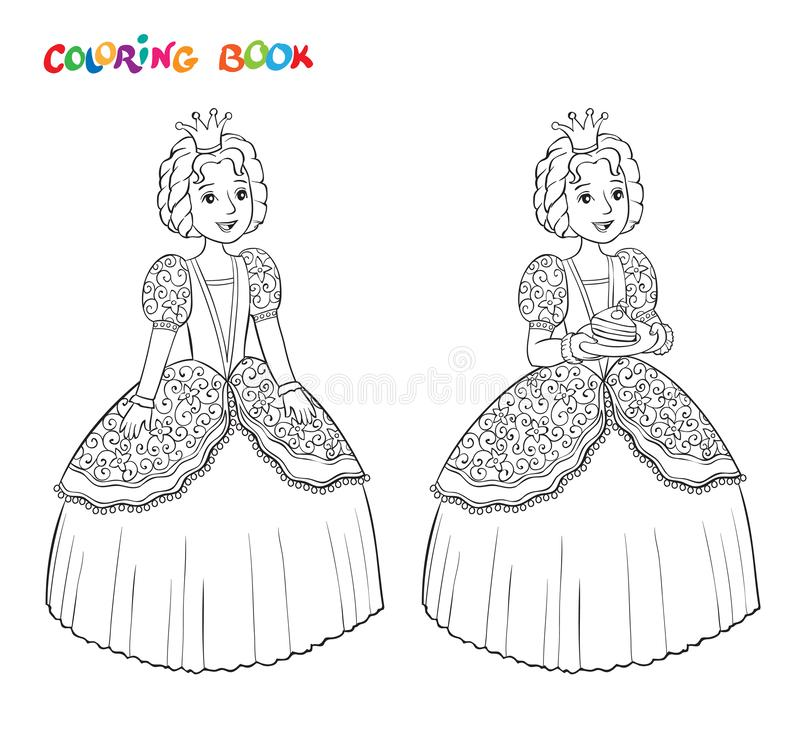 Beautiful little princess outlined for coloring book isolated on white background royalty free illustration
