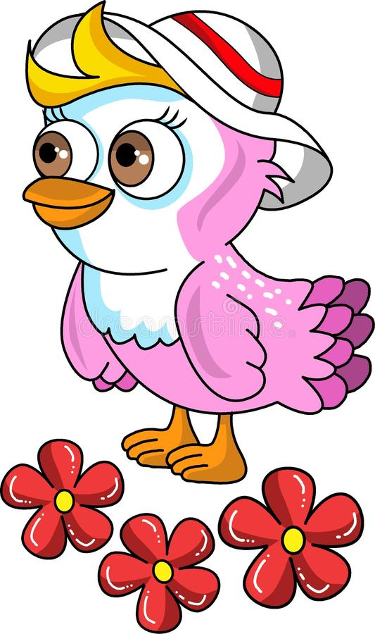 Beautiful little vector bird and flowers royalty free illustration