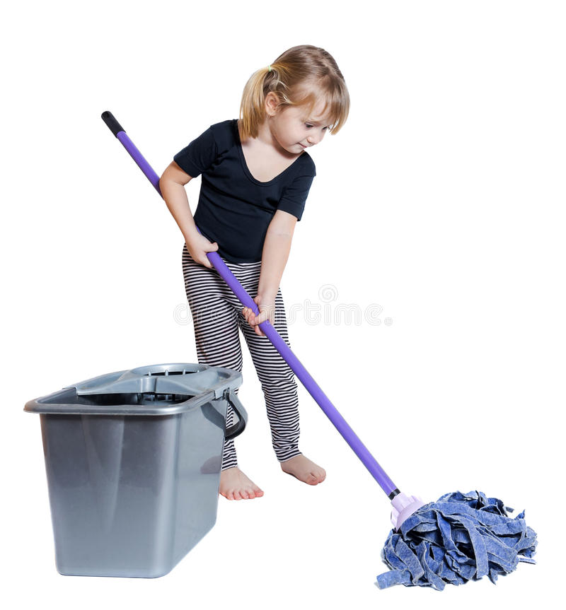 Beautiful llttle girl doing spring cleaning chores with mop. And bucket barefoot isolated on white background stock photography