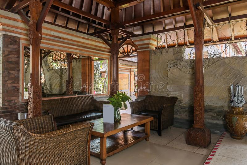 Beautiful lobby area at cheap villa in bali royalty free stock image