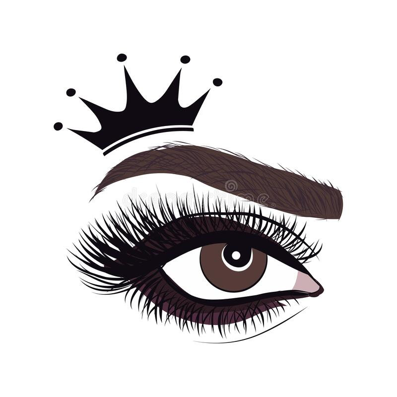Free Beautiful Logo With Woman`s Eye, Eyelash And Eyebrow With Crown Stock Photo - 184565130