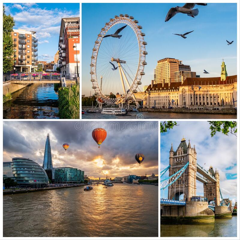 Beautiful London in a photo collage stock photo