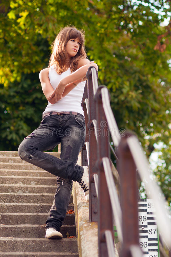 Lonely And Depressed >> Beautiful Lonely Teenage Girl Standing On The Stairs Stock Image - Image of stairs, beautiful ...