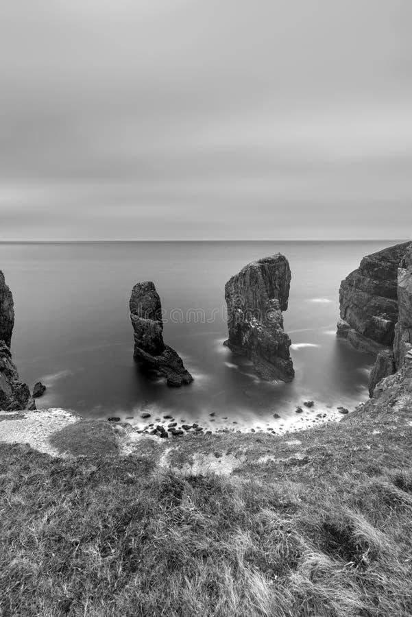 Beautiful long exposure black and white sunset landscape image o stock image