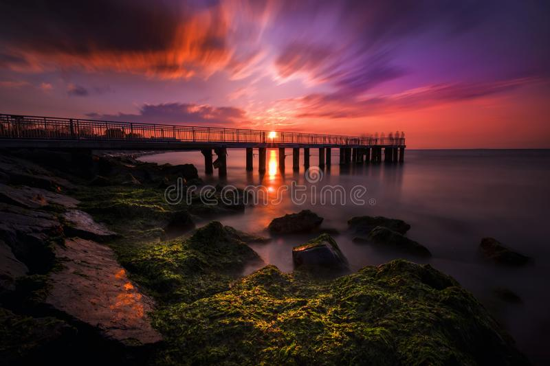 Florya beach and istanbul - Sunset and landscape -Turkey. Beautiful long exposure, Fantastic images on the pier at the coast of Florya royalty free stock image