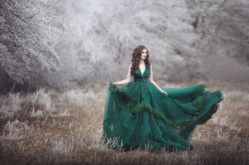 Beautiful long-haired girl in a magnificent emerald fairy dress walks in the winter forest. The wind develops hair and royalty free stock photo