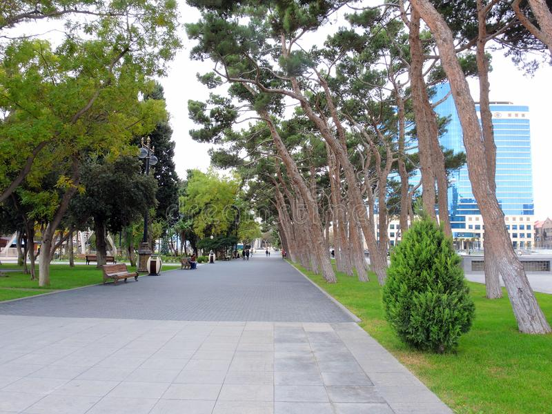 Long promenade along Baku Azerbaijan royalty free stock photography