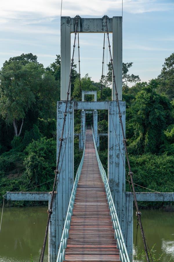 Beautiful of the longest suspension bridge in North eastern Region at Tana Rapids National Park,Ubonratchatani, Thailand.  royalty free stock images