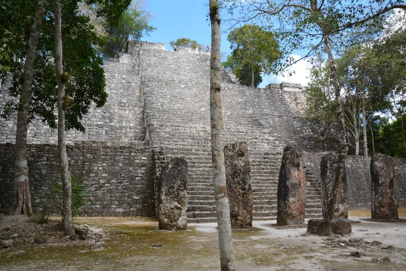 Calakmul Archaeological Site in Campeche Mexico. The beautiful and lost maya city of Calakmul hidden in the jungle of southern Mexico in the province of Campeche stock photo