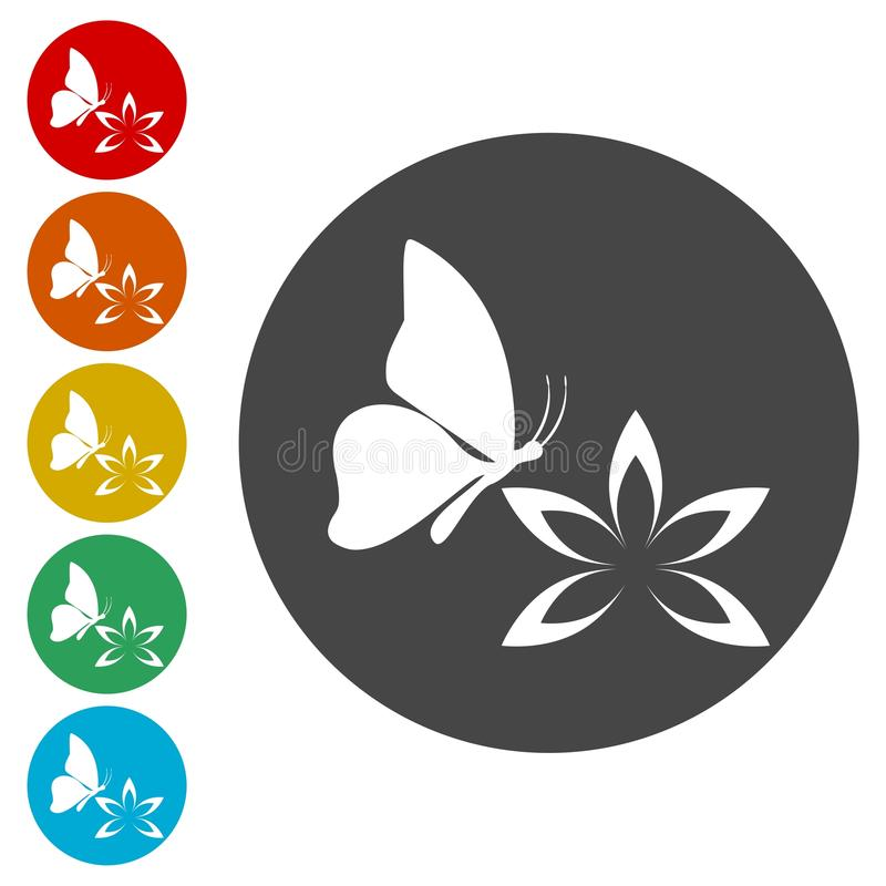 Beautiful lotus flower and Butterfly royalty free illustration