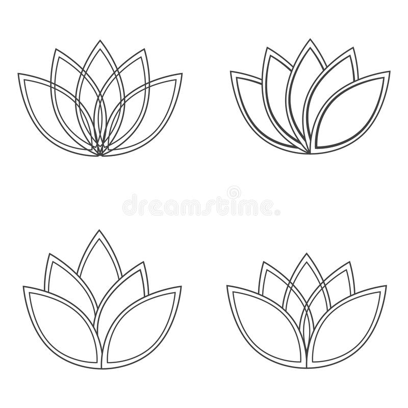 Beautiful lotus flower line illustration. Vector abstract black and white floral background royalty free illustration