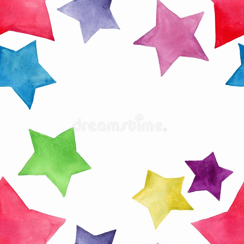 Beautiful lovely cute wonderful graphic bright artistic red pink blue purple green yellow stars pattern watercolor. Hand sketch. Perfect for textile, wallpapers royalty free illustration