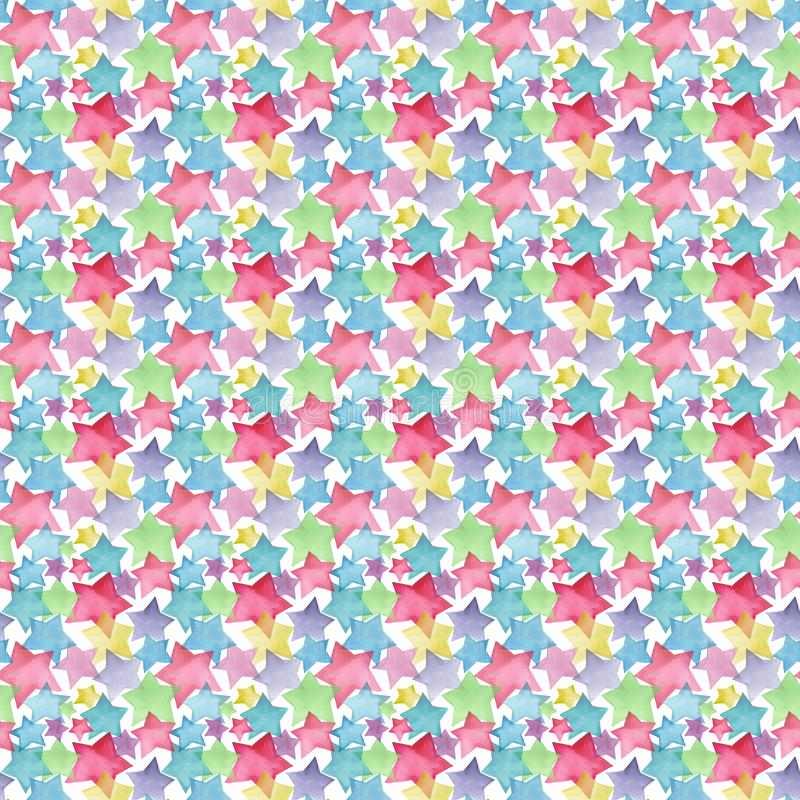 Beautiful lovely cute wonderful graphic bright artistic red pink blue purple green yellow stars pattern. Watercolor hand sketch. Perfect for textile, wallpapers vector illustration