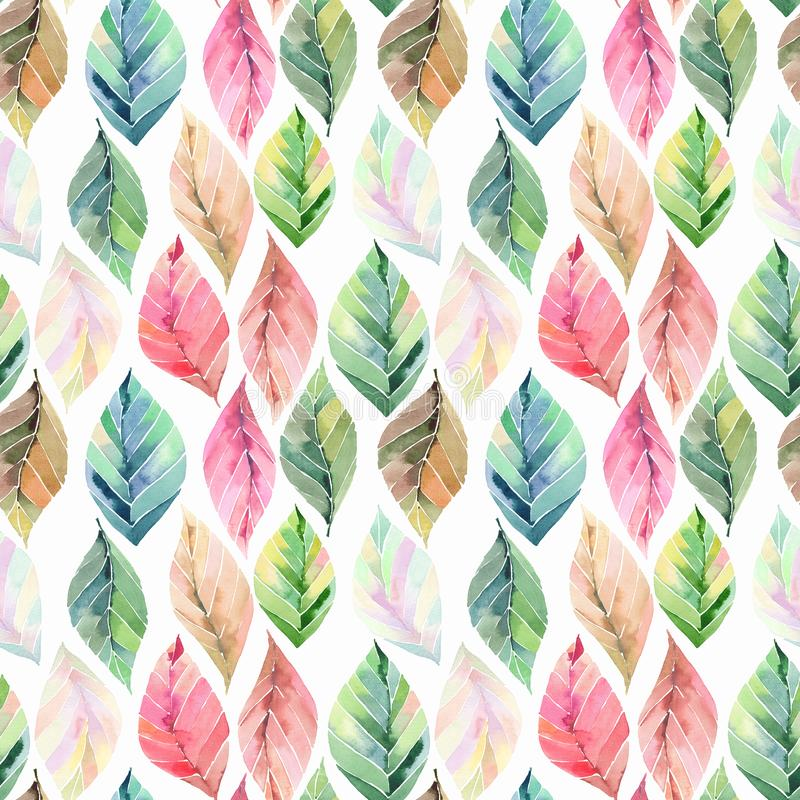 Free Beautiful Lovely Cute Wonderful Graphic Bright Floral Herbal Autumn Orange Green Yellow Leaves Pattern Watercolor Hand Royalty Free Stock Photos - 126505978