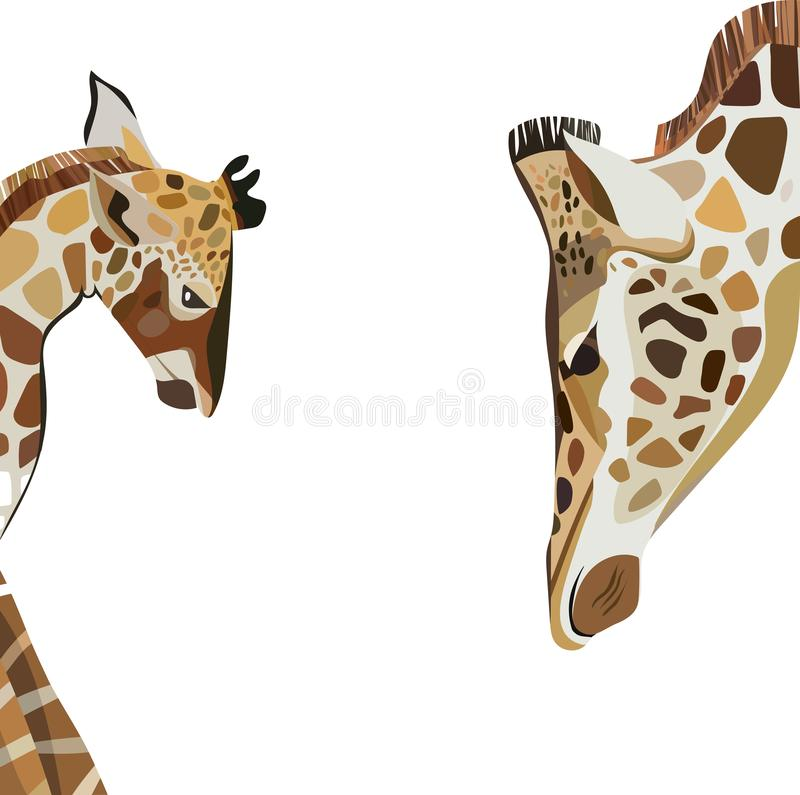 Beautiful lovely cute wonderful multicolor summer illustration of a baby giraffe with his giraffe mom vector. Perfect for textile, backgrounds, cards vector illustration