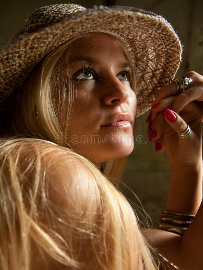 Download Beautiful  Lovely Woman With Straw Hat Posing Stock Image - Image: 10577617