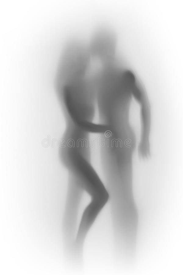 Beautiful lover couple, woman and a male human body silhouette together. royalty free stock photo