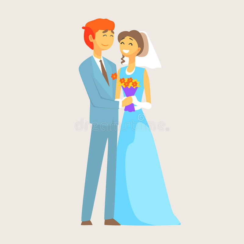 Beautiful loving couple of bride and groom is enjoying his wedding day royalty free illustration